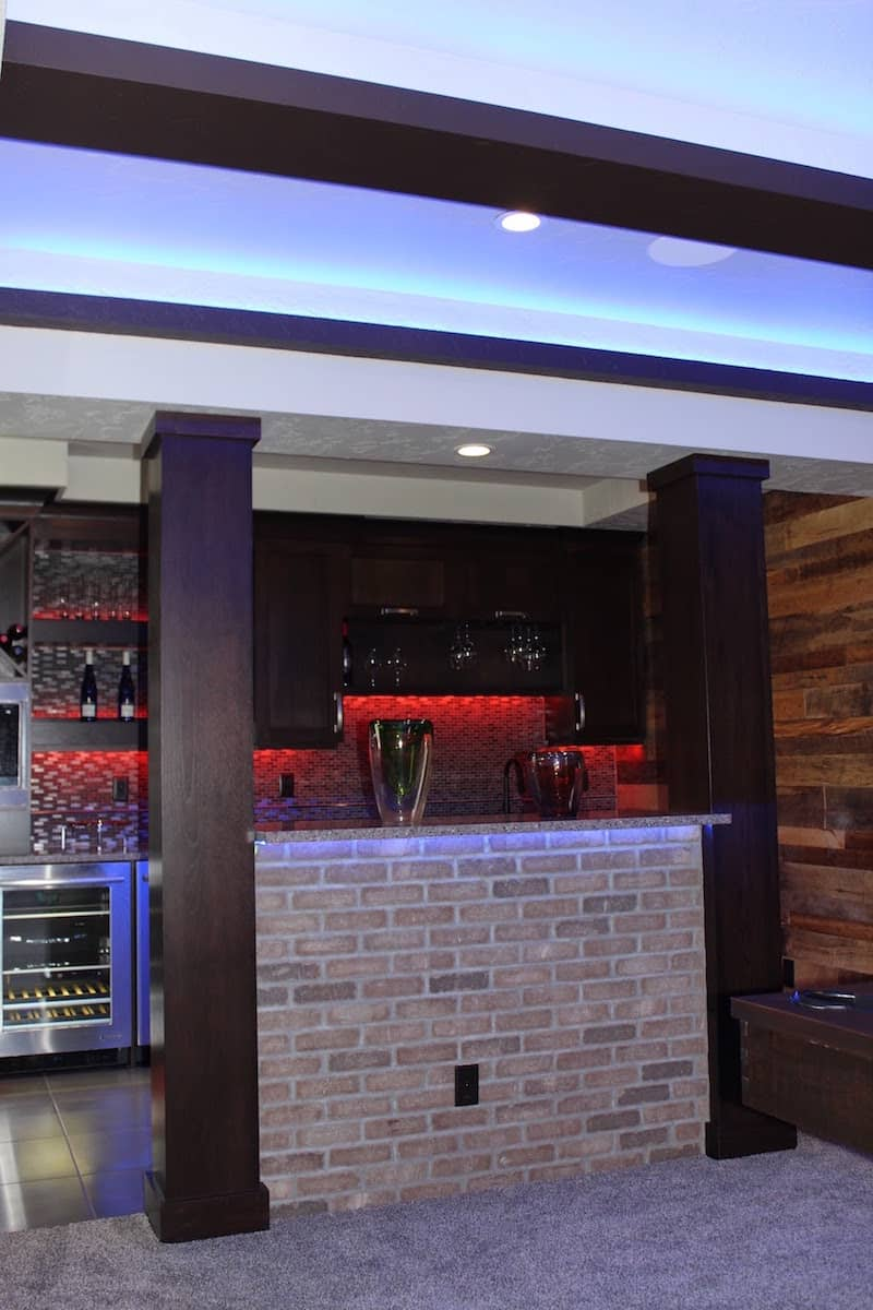 brick bar by OTXteriors in Fargo home