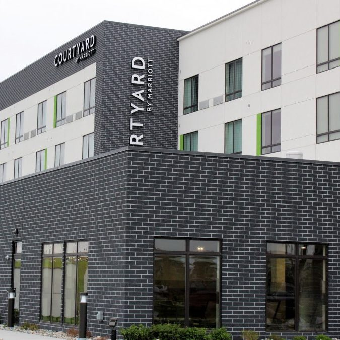Courtyard by Marriot in Fargo with EIFS Sandpebble finish with Dryvit Outsulation MD System