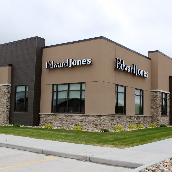 Edward Jones in Fargo exterior of EIFS stucco and stone
