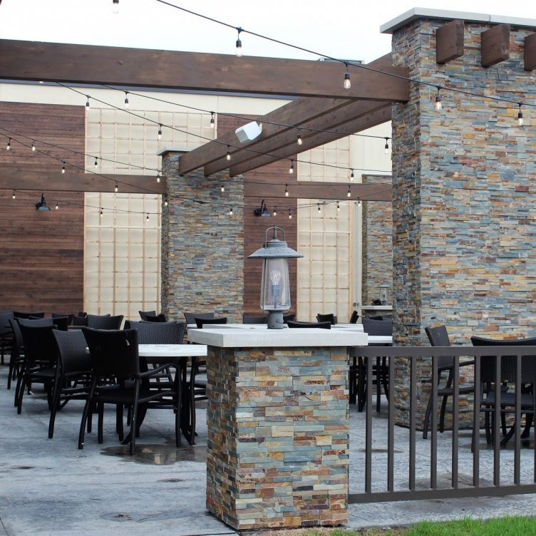 MSI Gold Rush stacked stone columns on the Grotto patio at The Tavern Grill in Fargo North Dakota